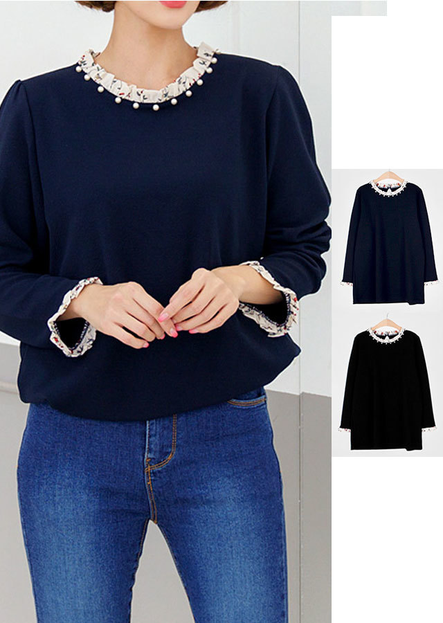 【春新作】フリルポイントレイヤード風Tシャツ(ブラック/ネイビー)【Lサイズ LLサイズ 3Lサイズ 4Lサイズ 5Lサイズ 6Lサイズ 7Lサイズ】