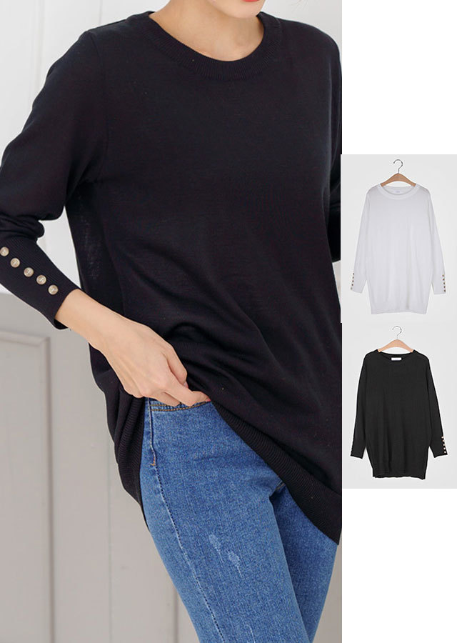 【春新作】春バージョンで再入荷★お袖ボタンポイントロングニットTシャツ(ホワイト/ブラック)【Lサイズ LLサイズ 3Lサイズ 4Lサイズ 5Lサイズ 6Lサイズ 7Lサイズ】