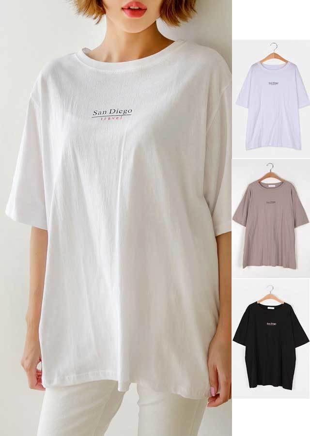 【春新作】ベーシックレターリングプリント♪半袖Tシャツ(ホワイト/ブラック/ベージュ)【LLサイズ 3Lサイズ 4Lサイズ 5Lサイズ】