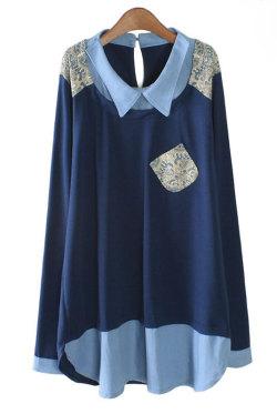 【SALE】ユニーク♪デニムレイヤードカラーシャツ(ネイビー/ピンク)