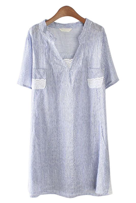 【SALE】3647 ラブリーレース配色ロングシャツ(ブルー/ネイビー)