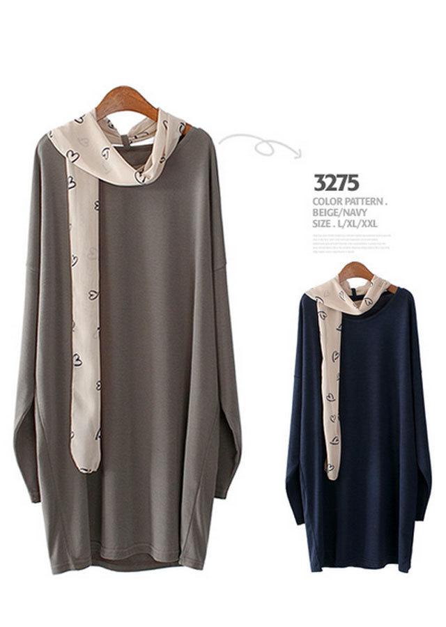 【SALE】3275 スカーフロングTシャツ(ネイビー/ベージュ)【Lサイズ LLサイズ 3Lサイズ 4Lサイズ 5Lサイズ 6Lサイズ】