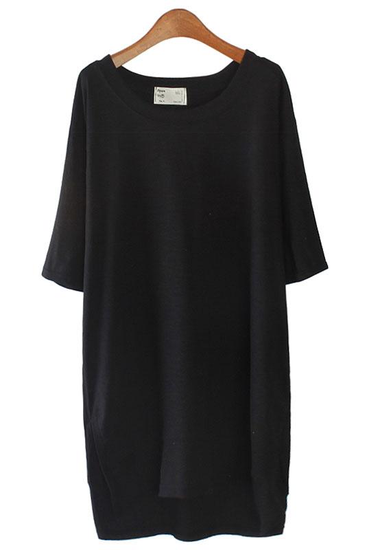 【SALE】4613 スタイルスリットロングTシャツ(アイボリー/ブラック)
