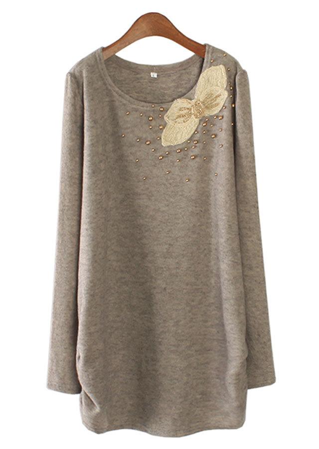 【SALE】1032 オーロラリボンシャーリングロングTシャツ(ベージュ/チャコール)