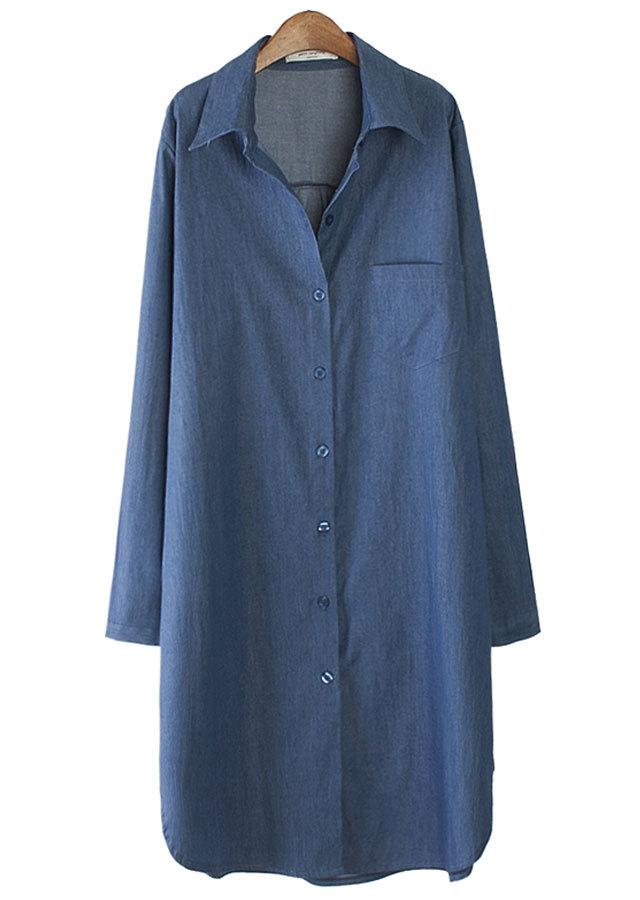 【SALE】5911 シンプルなデニムシャツ型ワンピース(ライトブルー/ダークブルー)【Lサイズ LLサイズ 3Lサイズ 4Lサイズ 5Lサイズ】