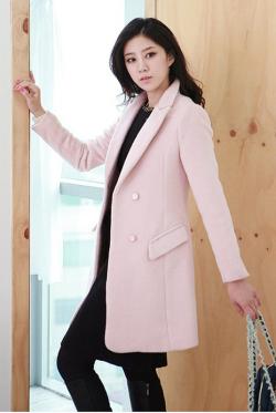 《Elegant-Q》アルパカロングコート(ブラック/ピンク)【Lサイズ LLサイズ 3Lサイズ 4Lサイズ】