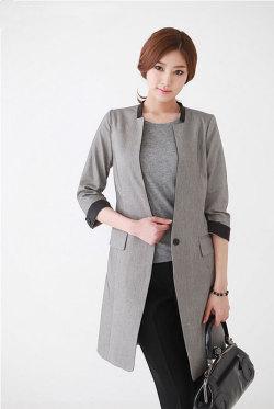 《Elegant-Q》カッコイイ~シングル7分袖ロングジャケット(ブラック/ベージュ)【Mサイズ Lサイズ LLサイズ 3Lサイズ 4Lサイズ】