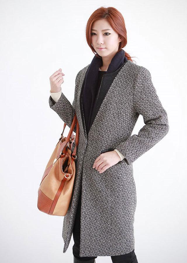 《Elegant-Q》モダンなデザインツイードウールコート(ブラック/ブルー)【L~LLサイズ】
