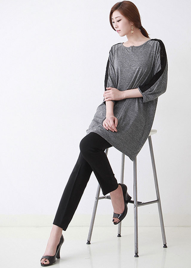 《Elegant-Q》楽々~デイリーロングTシャツ(ブラック/メラングレー)【Lサイズ LLサイズ 3Lサイズ 4Lサイズ】