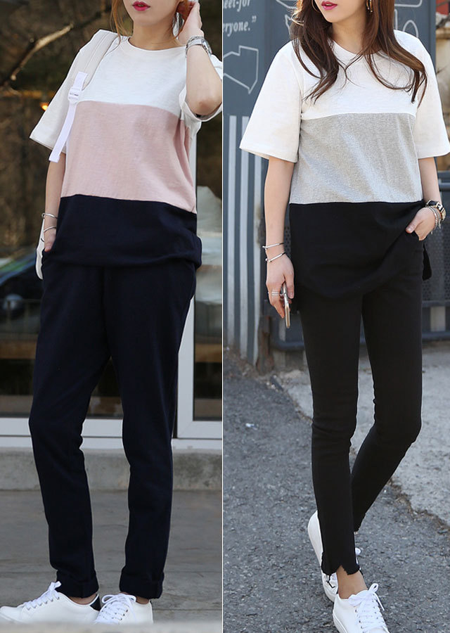 0116T22/3トン配色ポイントパフェロングTシャツ(グレー/ピンク/ミント)【Lサイズ LLサイズ 3Lサイズ 4Lサイズ 5Lサイズ】