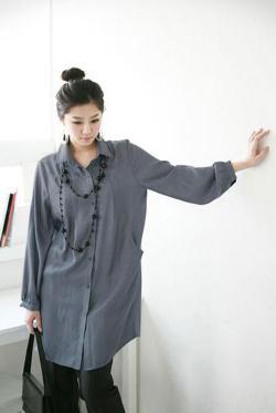 《Elegant-Q》上品でカッコイイオリビアワンピース型ロングシャツ【L~LLサイズ】