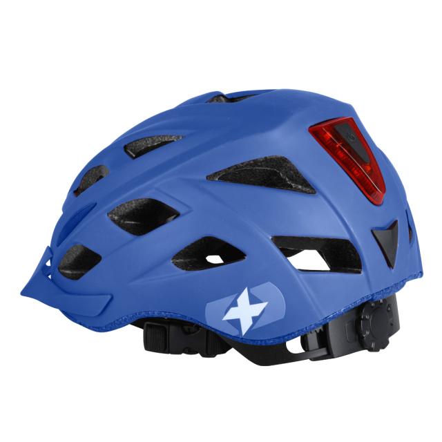 自転車ヘルメット LEDライト付き メトロ-VヘルメットMマットブルー L1704.11