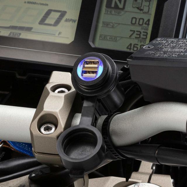 UA バイク用電源 デュアルUSB充電器 USB2ポート 5V/3A 防水キャップ UA-HB-2USB