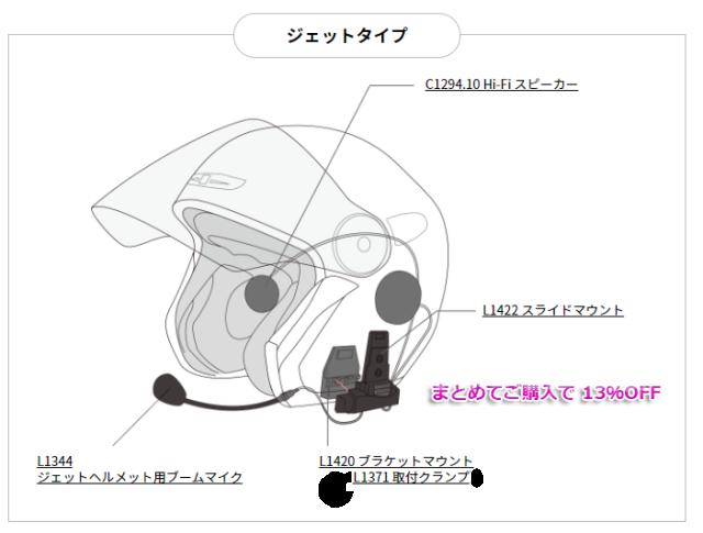 ジェットヘルメット装着用 アクセサリーセット  EX2JET