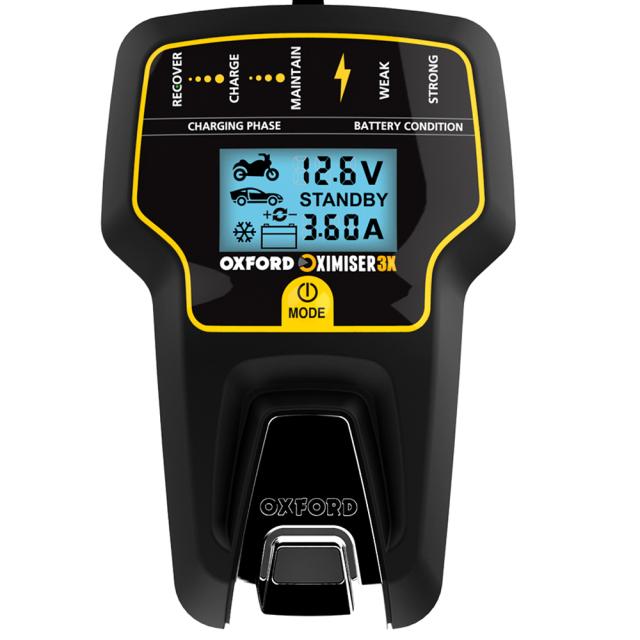 OXFORD  Oximiser3X バイク用 バッテリー充電器 PSE認可取得済み ディスプレイ付き リチウムバッテリー対応バッテリーチャージャー