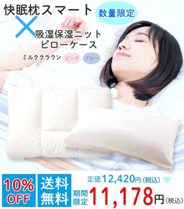 ロフテー快眠枕 スマート(パイプ/羽根)×吸湿保湿ニットピローケースset