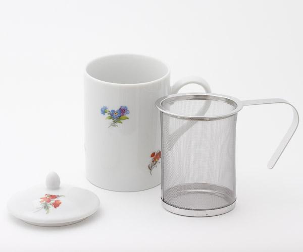 茶こし付きティーマグ L字型取っ手(花柄) (陶器製マグカップ・蓋、茶漉し付)