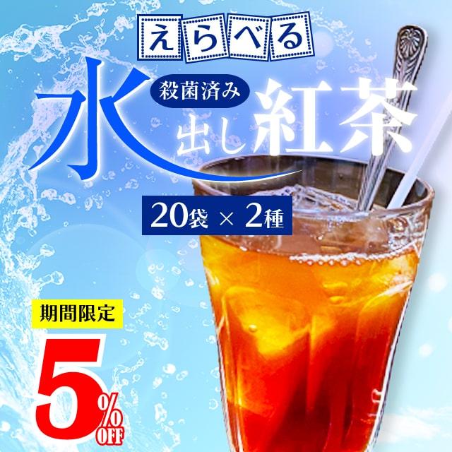 【5%OFF】えらべる水出し紅茶2種のセット(各20ティーバッグ入)【アイスティー】【角型ティーバッグ】
