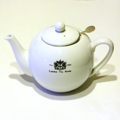 ●茶こし付き ティーポット・大 丸型 陶器製(ロゴ入)