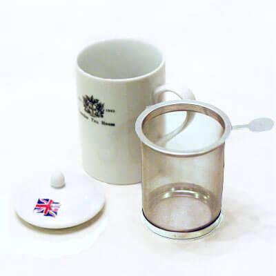 ●茶こし付きティーマグ 丸取っ手(ロゴ入) (陶器製マグカップ・蓋、丸取っ手茶漉し付)