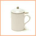 ●丸取っ手茶こし付きティーマグ(陶器製マグカップ・蓋、茶漉し付)(無地)