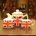 【送料無料】ユニオンジャック柄 陶器製ティーポット600mlとティーウェアの3点セット★おすすめの紅茶ポット