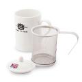 茶こし付きティーマグ L字型取っ手(ロゴ入) (陶器製マグカップ・蓋、茶漉し付)