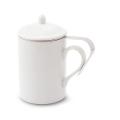 茶こし付きティーマグ(陶器製マグカップ・蓋、茶漉し付)(無地)