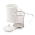 茶こし付き ティーマグ L字型取っ手(無地) (陶器製マグカップ・蓋、茶漉し付き)
