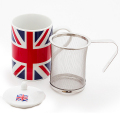 茶こし付き ティーマグ L字型取っ手(ユニオンジャック柄) (陶器製マグカップ・蓋、茶漉し付)