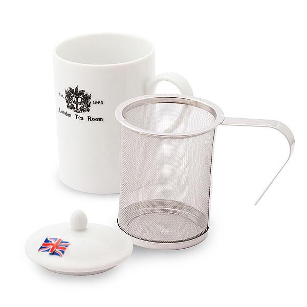 茶こし付きティーマグ(陶器製マグカップ・蓋、茶漉し付)(ロゴ入)