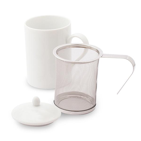 茶こし付き ティーマグ (無地) (陶器製マグカップ・蓋、茶漉し付き)