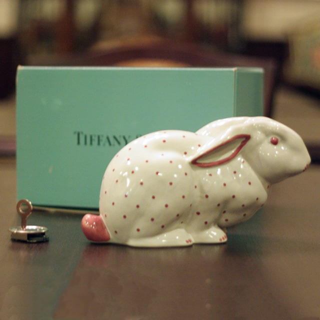 【中古】Tiffany(ティファニー)ピンクラビット貯金箱(オリジナルキー・箱付き)tf-66