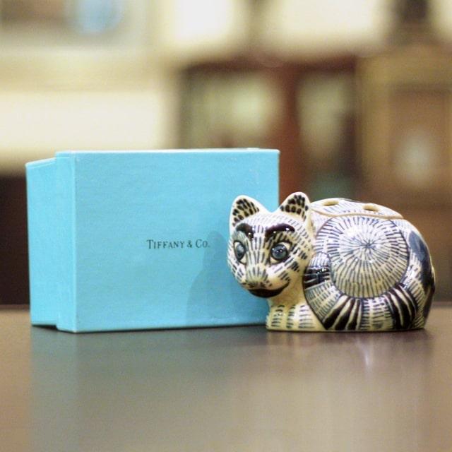 【中古】Tiffany(ティファニー)小猫ポプリホルダー(香炉)箱付き 磁器 tf-74【アンティーク】