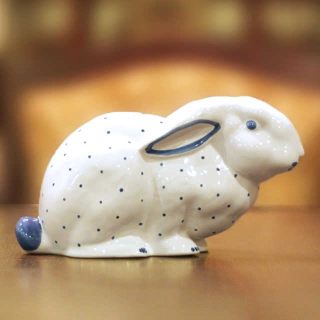 【中古】Tiffany(ティファニー)ブルーラビット貯金箱 磁器 tf-82