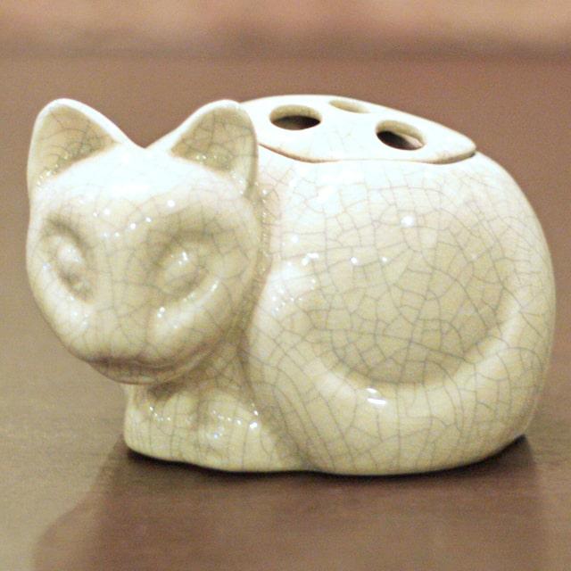 【中古】Tiffany(ティファニー)小猫ポプリホルダー(香炉) 磁器 tf-88