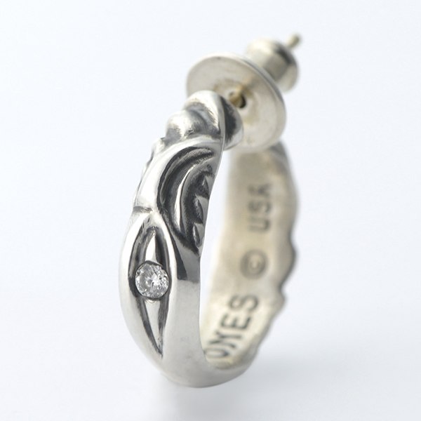 Raven Hoop Earring with Diamond-1Stone -レイヴンフープイヤリング ウィズダイアモンド1石-