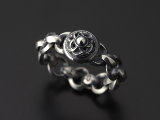 Mini Silk Link with Circles and Crane Dome Ring -ミニシルクリンク ウィズサークル&クレーンドームリング-