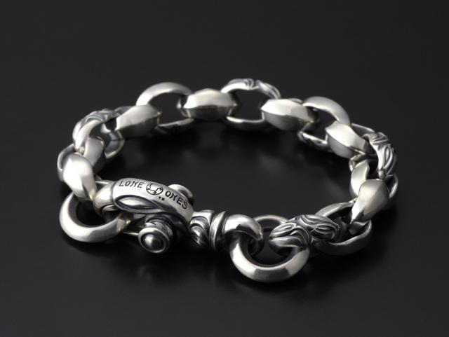 Carved Silk Link Bracelet Medium (Plain Circle) Long -カーブドシルクリンクブレスレット ミディアム プレーンサークル ロング-