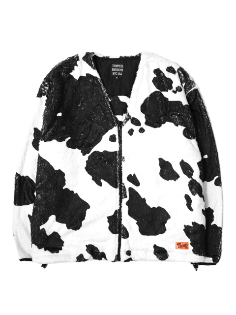 THUMPERS NYC Fleece Cattle Pattern Zip Cardigan