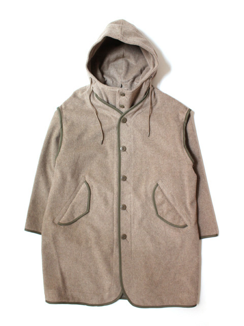 tone LINER HOODED COAT -BEIGE-