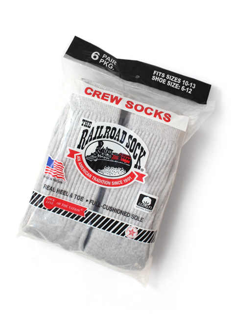 RAILROAD SOCK MEN'S 6 PAIR CREW -SWEATSHIRT GREY-