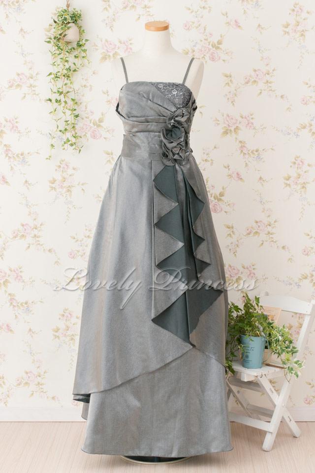 レディース用 ステージドレス 胸元巻きフラワープリーツロングドレス シルバー(3247)