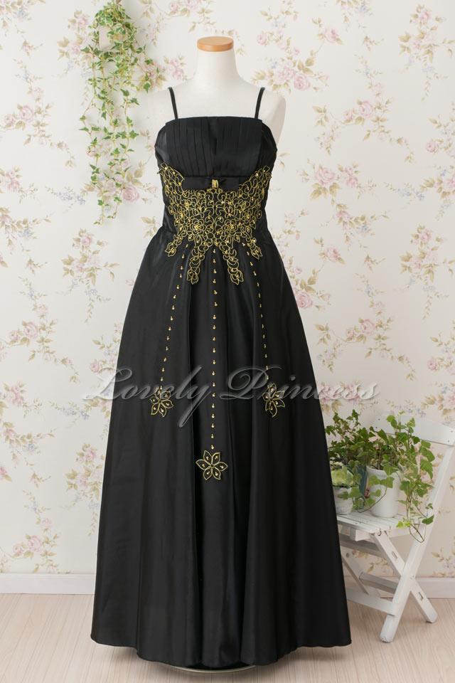 レディース用 フォーマルステージドレス 金糸&ビーズ加工ロングドレス ブラック(6534)