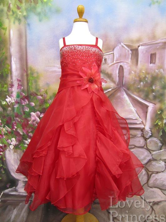 子供ドレス ヴァネッサ レッド