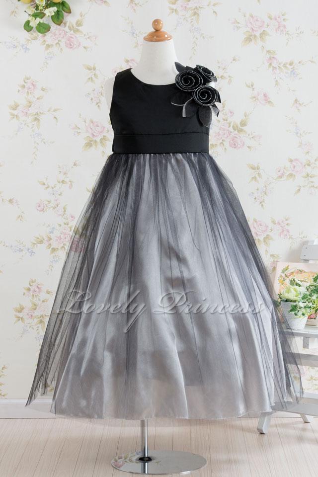子供ドレス ジャスティン ブラックシルバー
