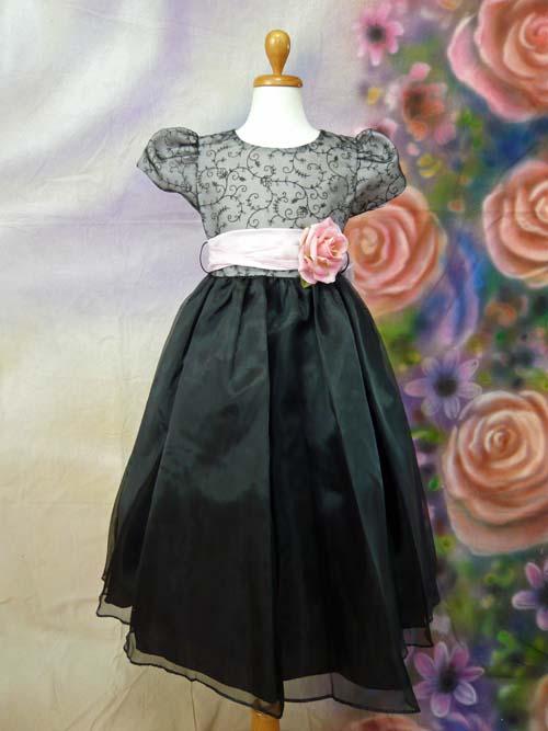 子供ドレス シャルロット ブラック/ピンク
