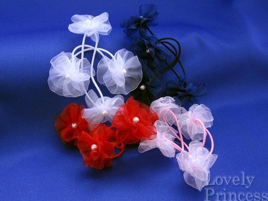オーガンジー花パール付きポニー(2個組)