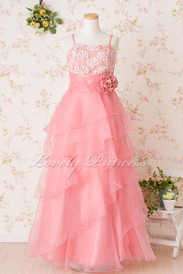 フラワー刺繍スパンロングドレス ローズピンク