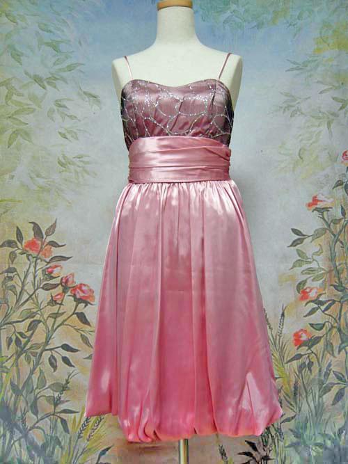 バルーンスカートサテンパーティードレス ローズピンク